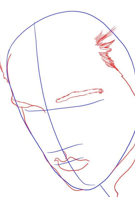 now sketch out the out line of his nice full lips as shown and then draw out the lining for his jacket and jaw